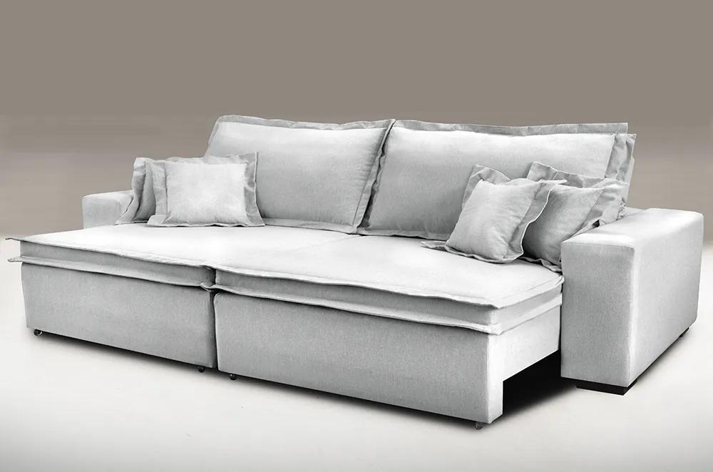 Sofa Retrátil E Reclinável Com Molas Cama Inbox Premium 2,92m Tecido Em Linho Cinza Claro