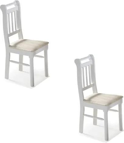 Kit 2 Cadeiras Kingston com Assento Estofado - Acabamento Laca PU - Madeira Maciça - Branco