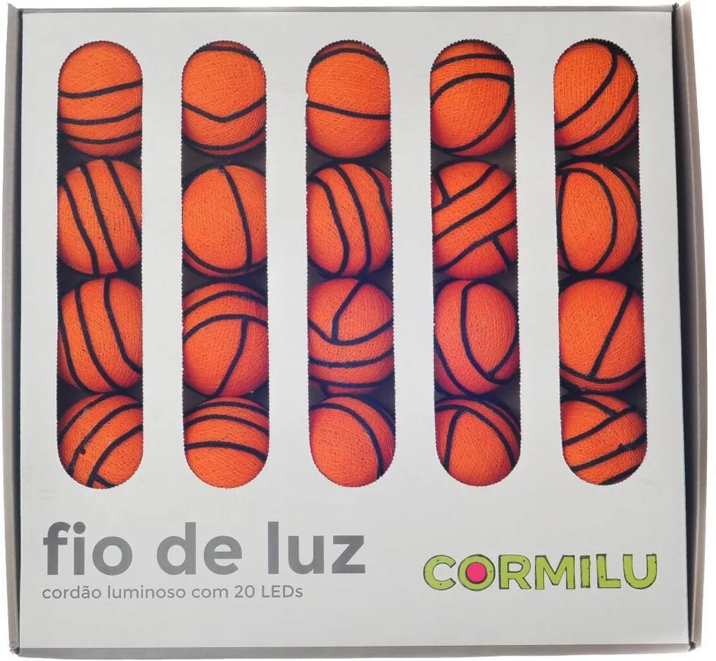 Luminária Decorativa Basquete - Pilha Cormilu Laranja