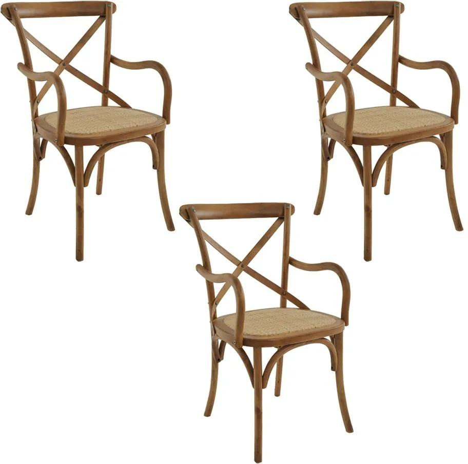 kit 3 Cadeiras Decorativas Sala de Jantar Cozinha Danna com Apoio Rattan Natural Bétula - Gran Belo
