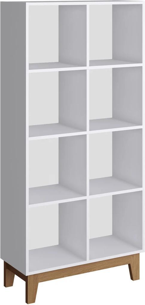Estante Infantil Retrô 8 Nichos Branco Completa Móveis