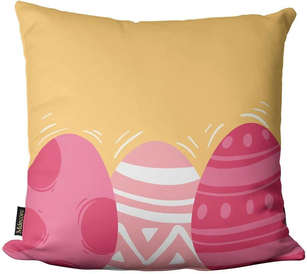 Capa para Almofada de Páscoa Ovos Amarelo Rosa 45x4545x45cm