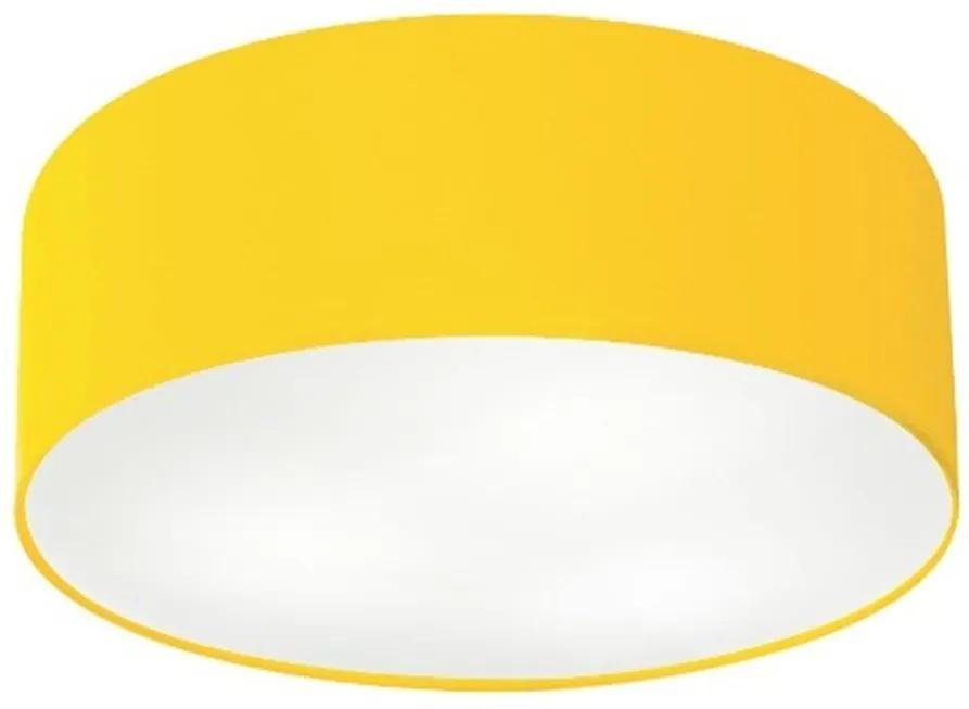 Plafon Cilíndrico Md-3006 Cúpula em Tecido 60x15cm Amarelo - Bivolt