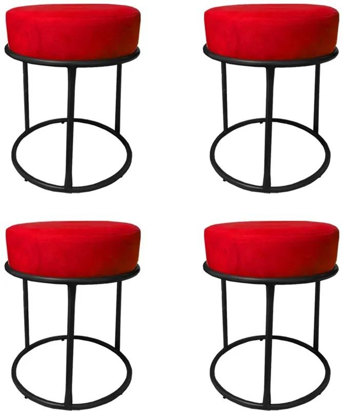 Kit 4 Puffs Decorativos Redondos Luxe Base de Aço Preta Suede Vermelho - Sheep Estofados - Vermelho