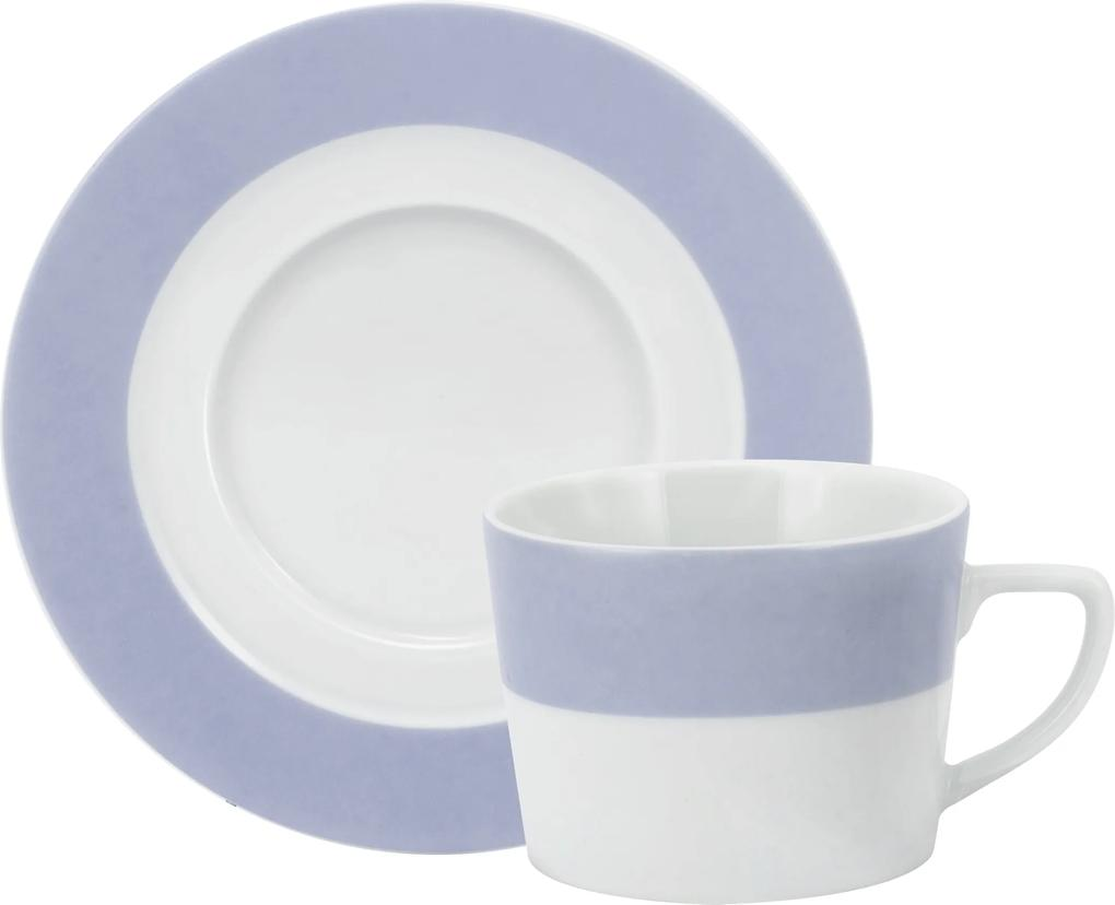 Xicara Chá c/ Pires Porcelana Schmidt - Dec. Matte Azul