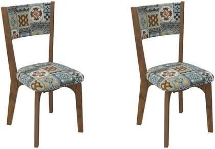 Kit 2 Cadeiras CA22 para Sala de Jantar Nobre/Ladrilho - Dalla Costa