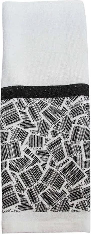 Pano de Prato Barcode Branco e Preto em Algodão - Urban - 60x39 cm