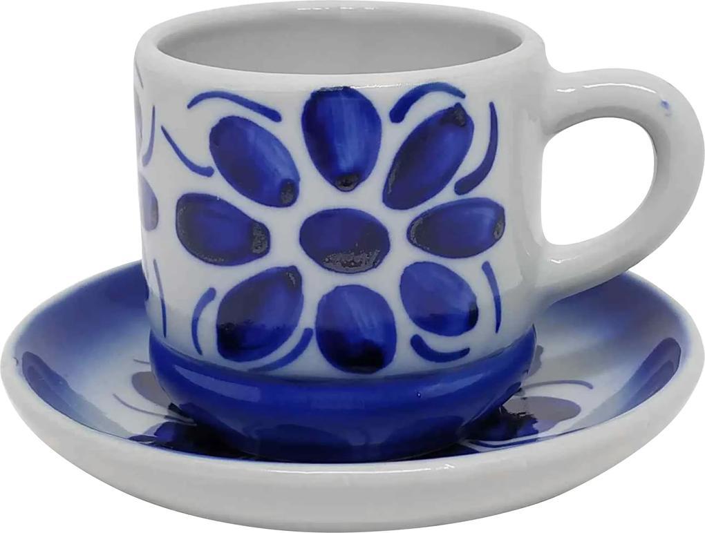 Xícara de Chá com Pires em Porcelana Azul Colonial 200 ml