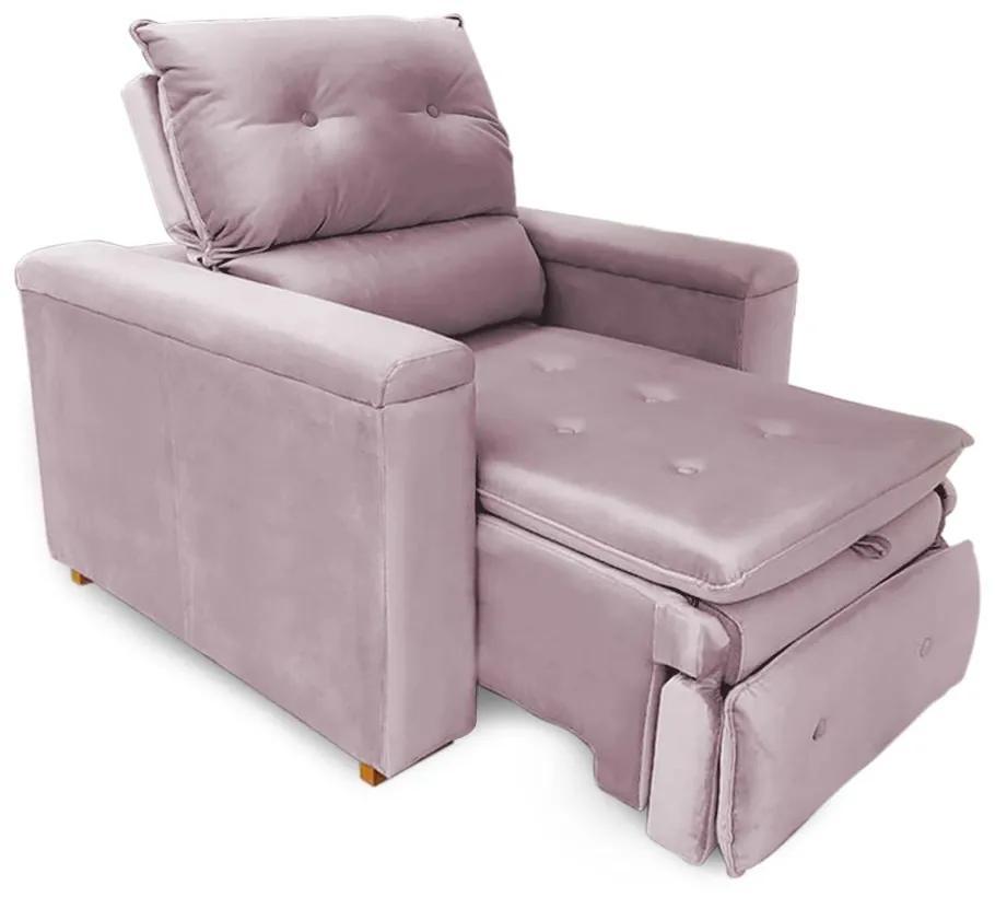 Poltrona Reclinável Retrátil Onix Veludo Liso Rosa - Sheep Estofados - Rosa