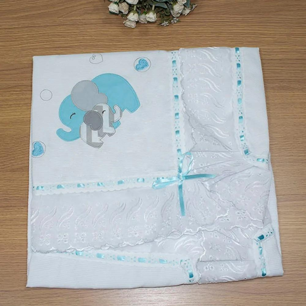Manta de Bebê Elefante Chevron Azul Tiffany