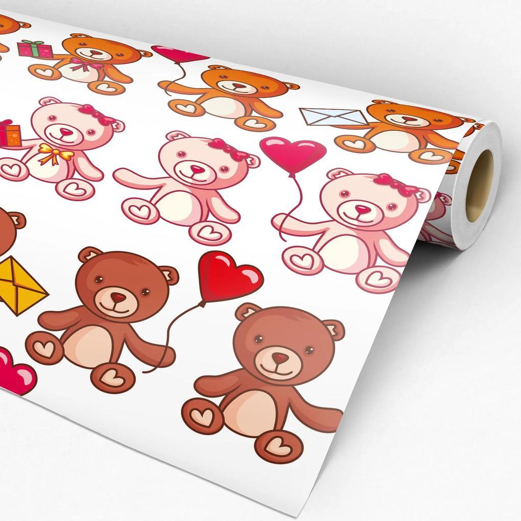 Papel de parede adesivo infantil ursinhos