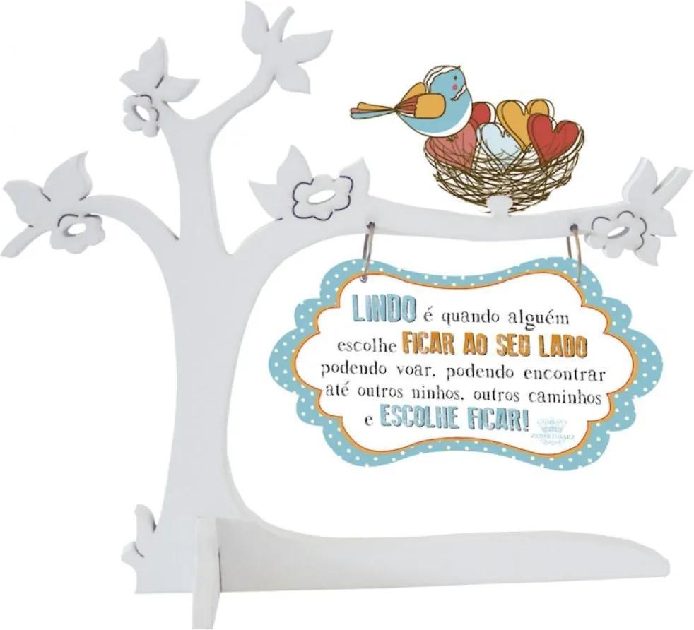 Placa Decorativa Decorando com Classe Árvore com Pássaros Branco