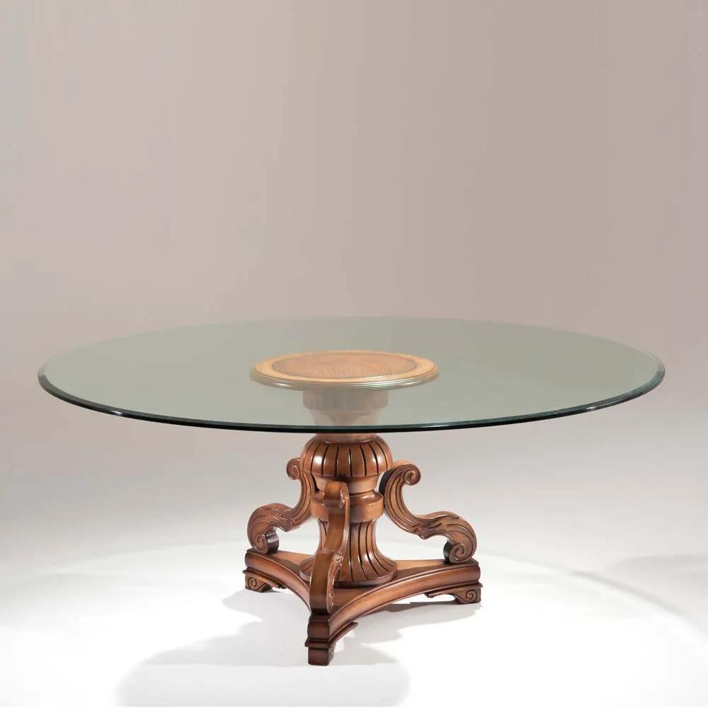 Mesa de Jantar Gold Redonda Tampo de Vidro Madeira Maciça Design Clássico Avi Móveis
