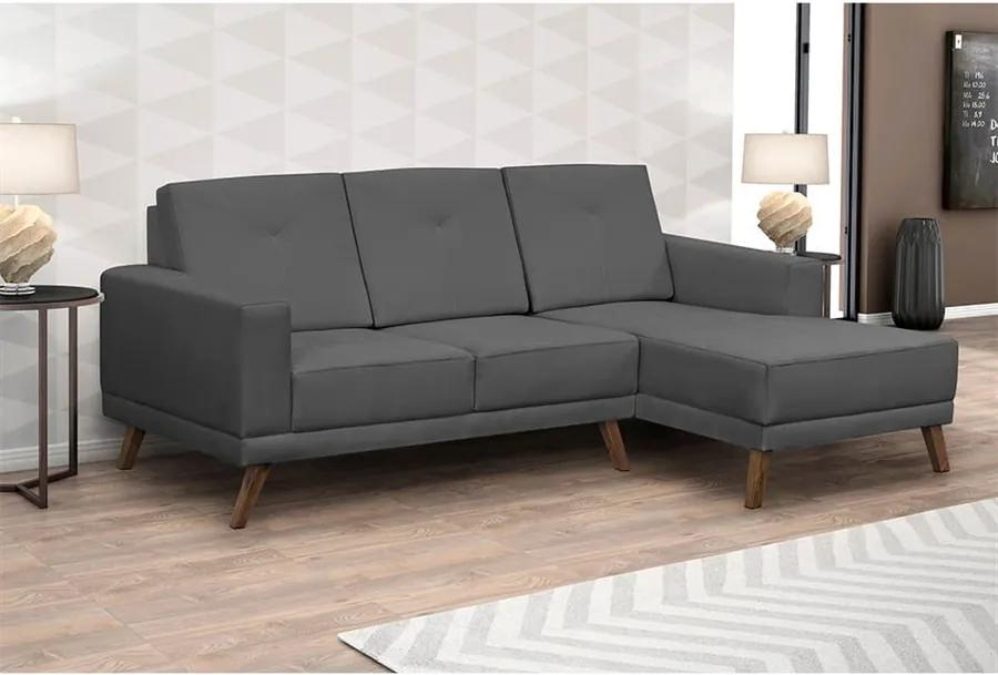 Sofá Xander C/ 3 Lugares (L:200cm) C/ Chaise Suede Liso Chumbo DST