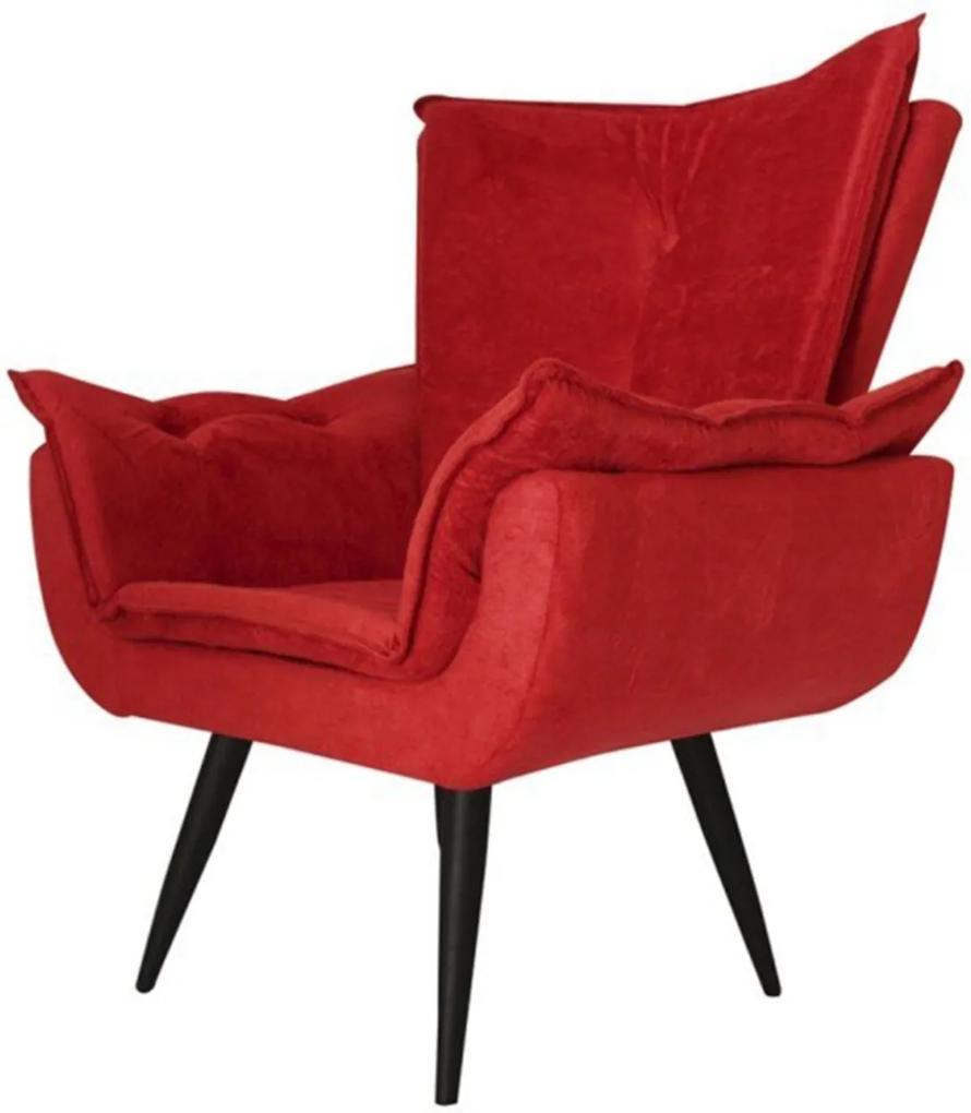 Poltrona Decorativa Emília Aba Pés Palito Suede Vermelho - DS Móveis