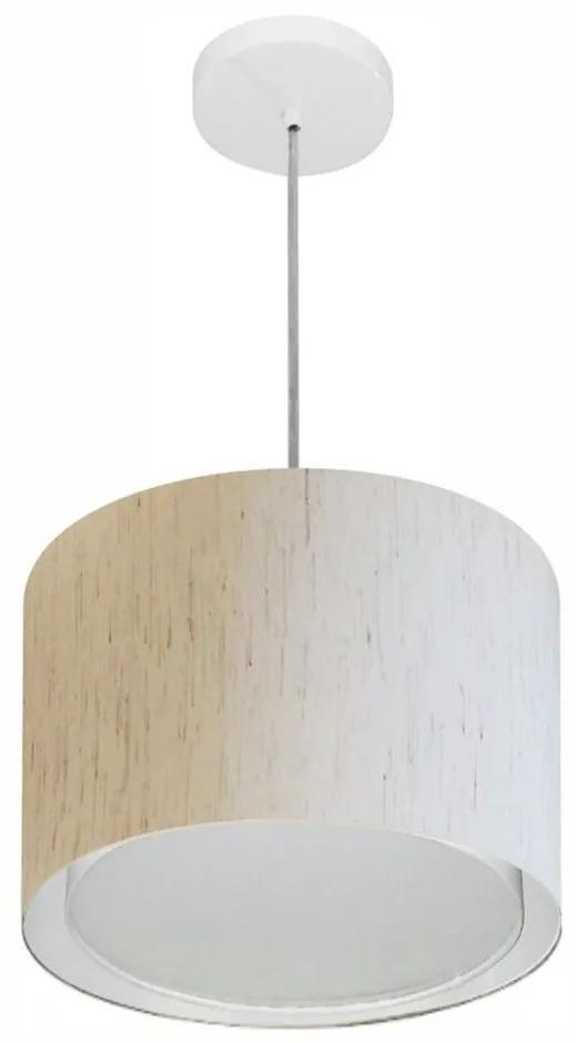 Lustre Pendente Cilíndrico Duplo Md-4285 Cúpula em Tecido 35x30cm Linho Bege - Bivolt