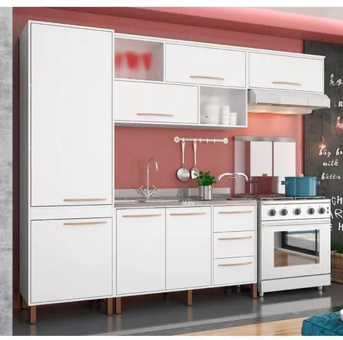 Cozinha Compacta Hibisco Paneleiro, Aéreos e Balcão Albatroz - Branco