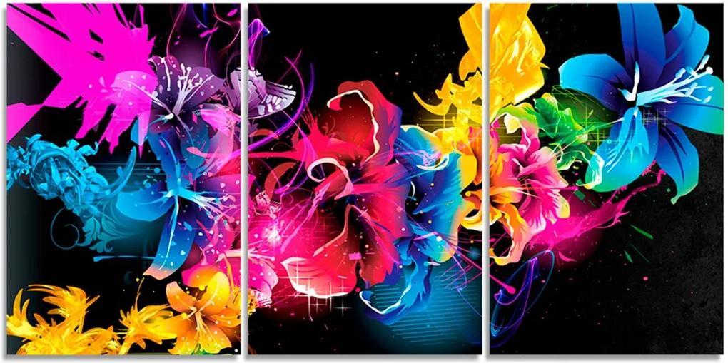 Quadro Decorativo Flor Tinta Colorida Sala Quarto Casa
