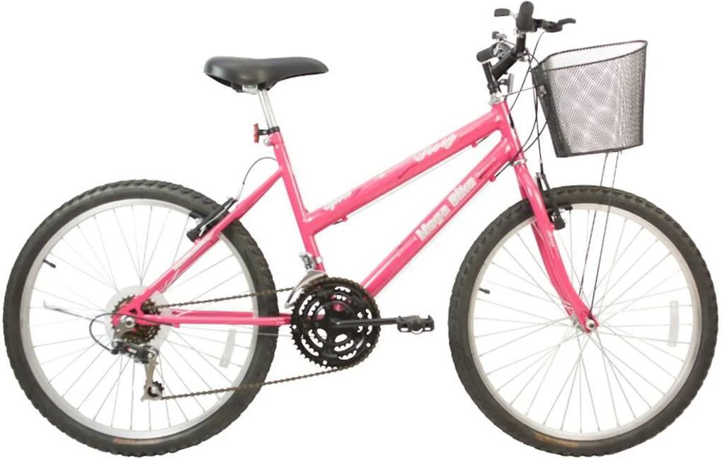 Bicicleta Infantil Aro 24 Freios V-Break Quadro Aço 21v Rosy Sport Pink - Mega Bike