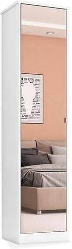 Armário Murano 01 porta com espelho e 04 prateleiras, Padrao - 03 - branco