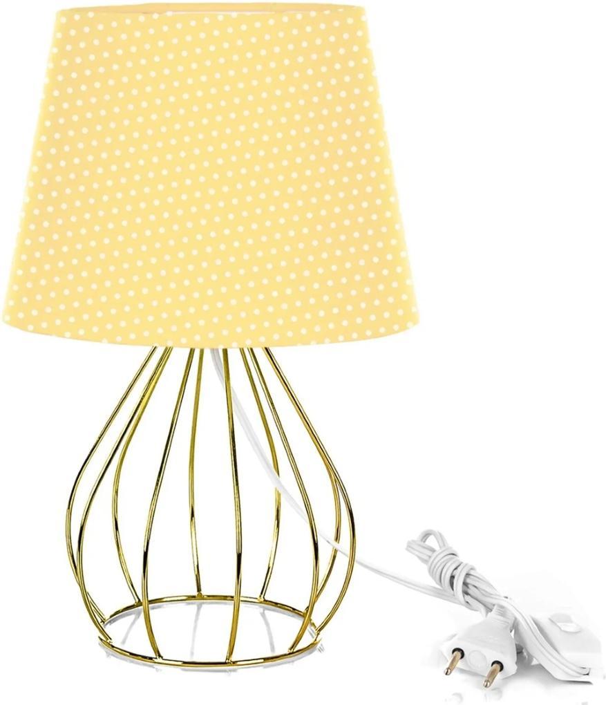 Abajur Cebola Dome Amarelo/bolinha Com Aramado Dourado