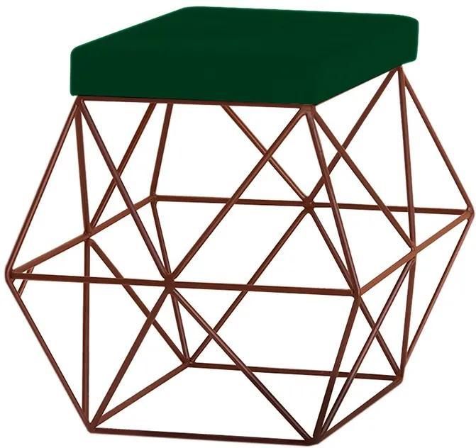 Puff Decorativo Sala de Estar Base Bronze Trixie Suede Verde - Gran Belo