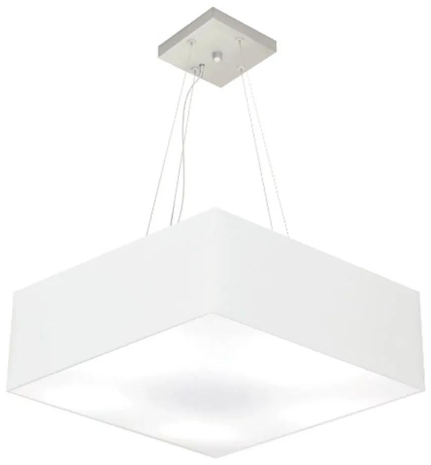 Lustre Pendente Quadrado Md-4198 Cúpula em Tecido 15/60x60cm Branco - Bivolt