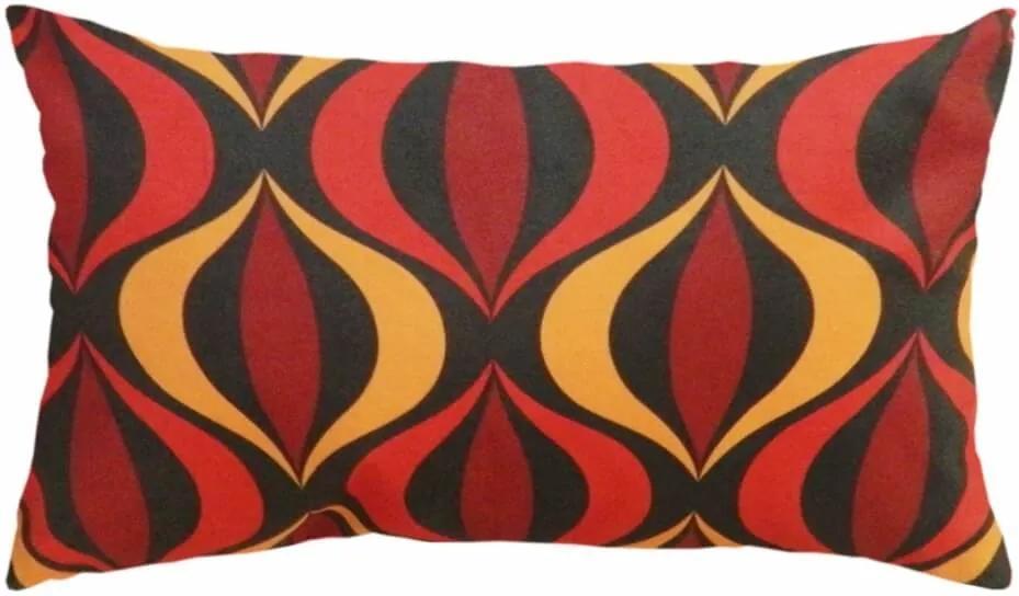 Capa De Almofada Estampa Ocular Vermelho Amarelo 60X30