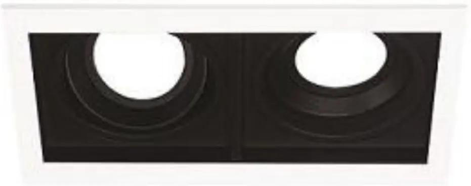 Plafon Embutir Duplo Branco Preto Dicroica Gu10 Quadra