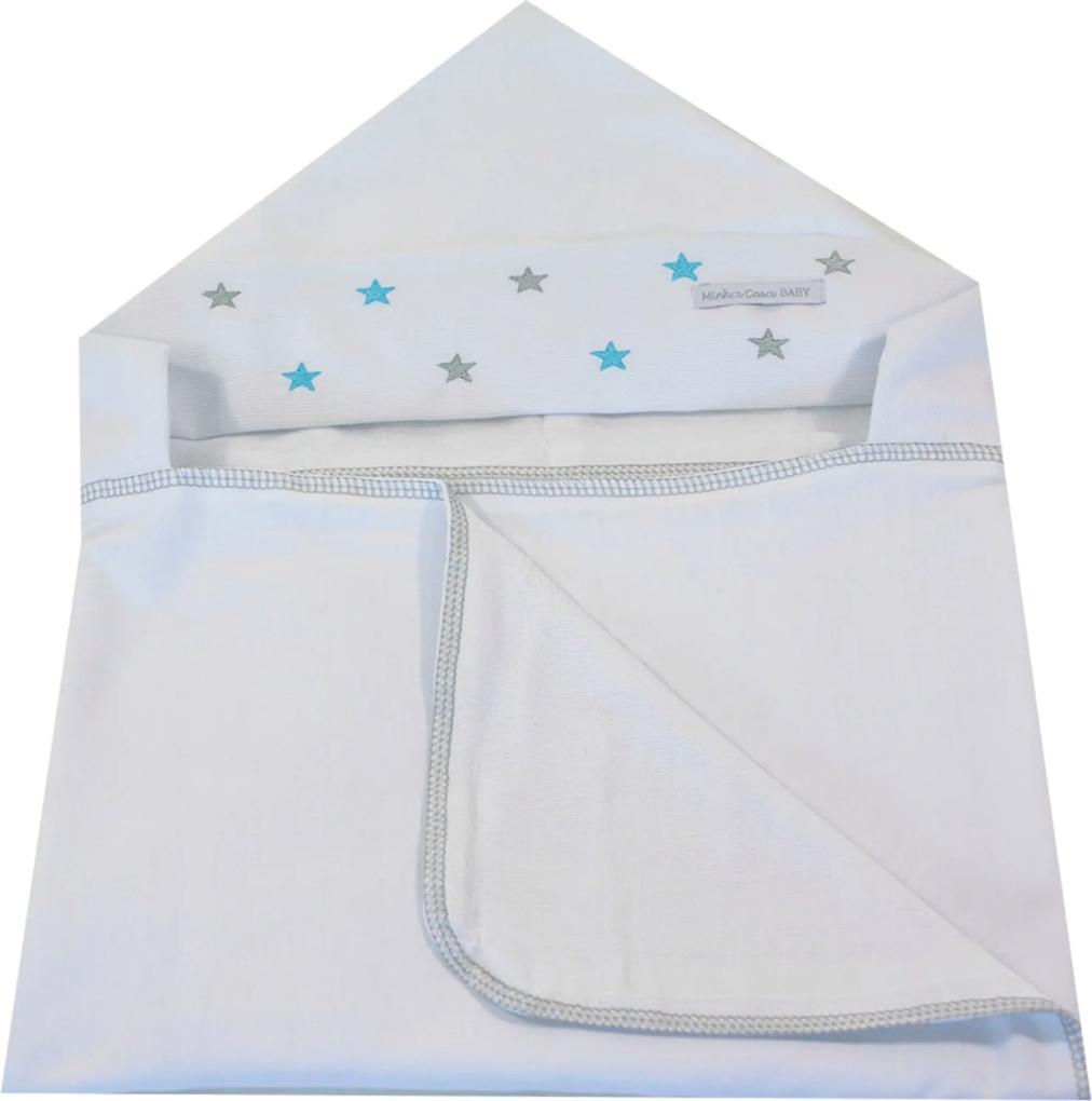 Toalha de Banho em Malha com Capuz Forrada em Fralda Minha Casa Baby TBC2051/4T Estrela Cinza/Azul Tifany,.