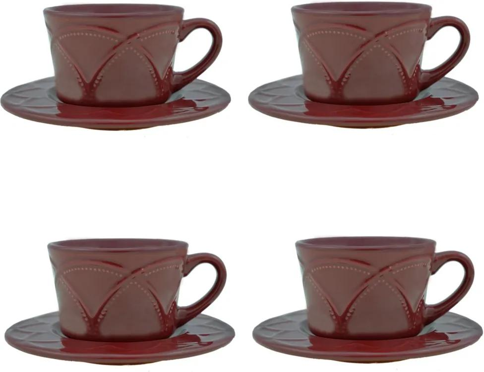 Jogo Xícaras Para Café Porcelana 4 Peças Com Pires Iris Verbena 80ml 17609 Wolff