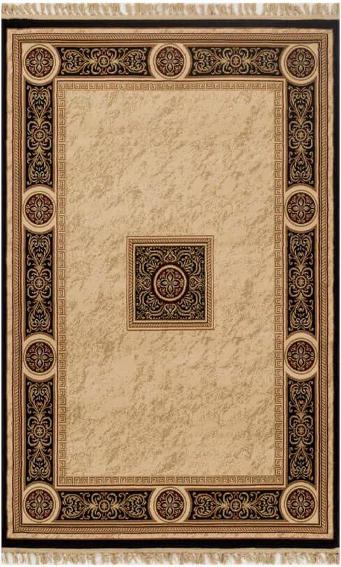 Tapete Persa Abadeh Bege com Detalhes em Preto - 100x150cm