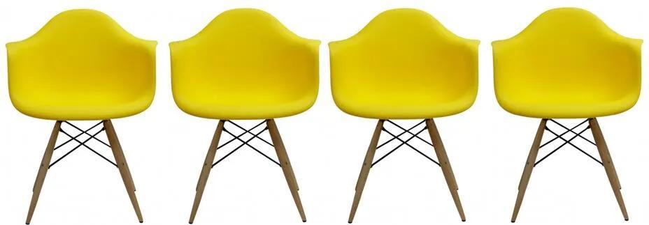 Conjunto 4 Cadeiras Eiffel Eames DAW Amarela