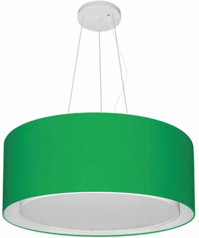 Lustre Pendente Cilíndrico Duplo Md-4124 Cúpula em Tecido 50x25cm Verde Folha - Bivolt