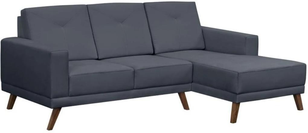Sofá 3 Lugares com Chaise Capricho Suede Azul - D'Monegatto