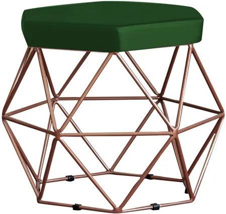 Puff Decorativo Base Bronze Elsa Suede Verde - Gran Belo