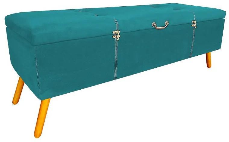 Calçadeira Baú Casal 140cm Caribe Pés Palito Suede Turqueza - Sheep Estofados - Azul claro