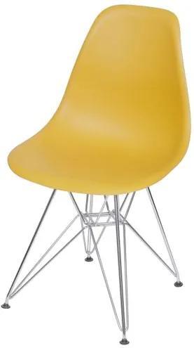 Cadeira Eames Polipropileno Acafrao Base Cromada - 49320 Sun House