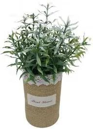 Vaso com Planta Artifiícial de Plástico Verde 6,5x21cm NDI ST50199