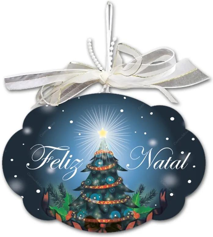Placa Móbile Média Noite de Natal Azul em MDF - 19x13 cm