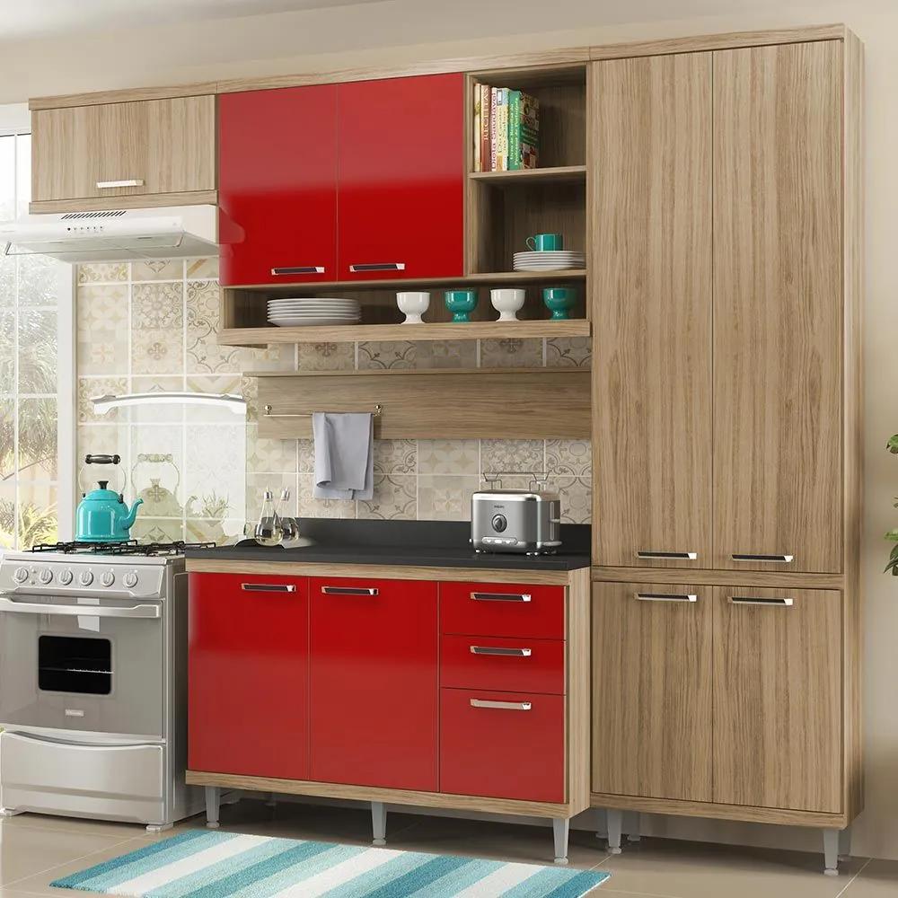 Cozinha Compacta 9 Portas Sicília Com Tampo 5839 Vermelho/Argila - Multimóveis