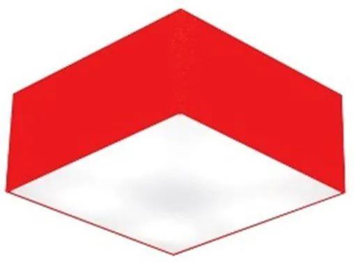 Plafon Quadrado Md-3000 Cúpula em Tecido 12/25x25cm Vermelho - Bivolt