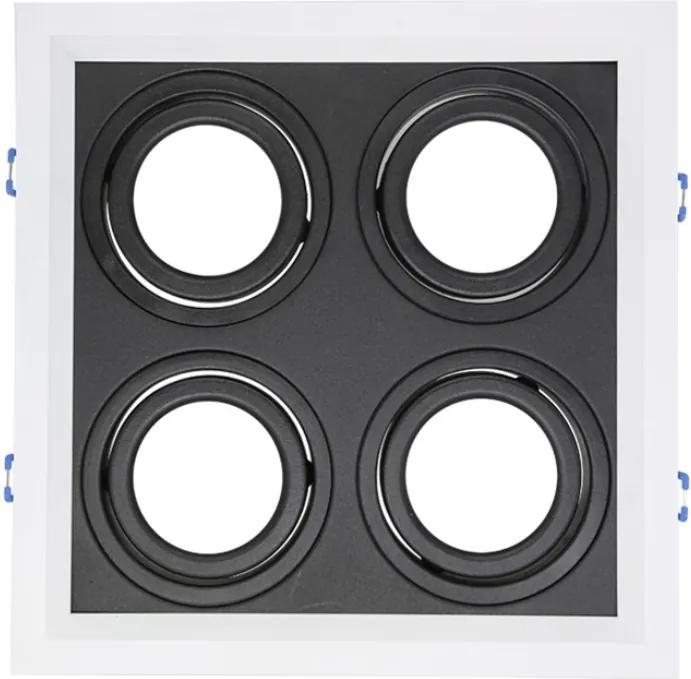 Plafon Embutir Aluminio Branco Preto 24,1cm