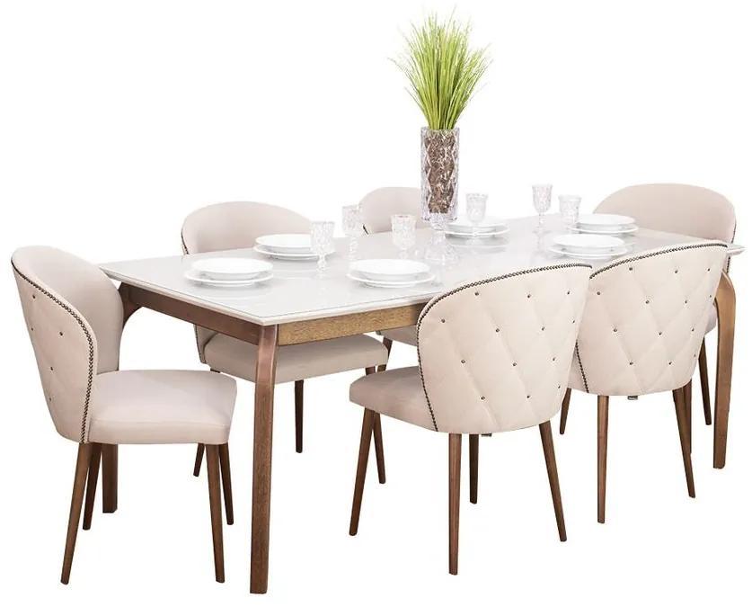 Conjunto Sala de Jantar Mesa Valência com 6 Cadeiras Albury - Wood Prime 44674