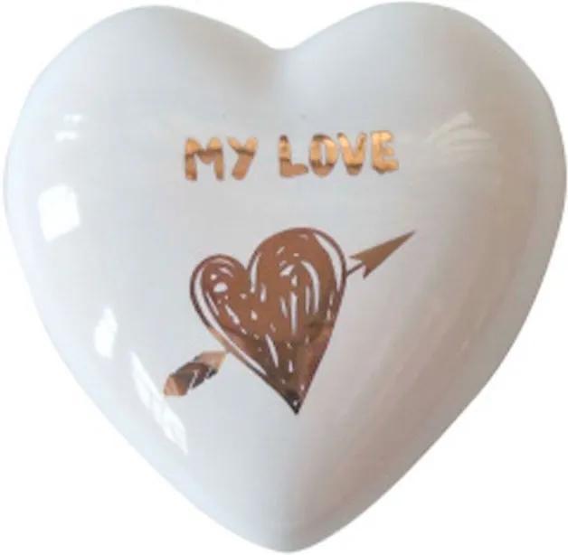 Coração Decorativo de Cerâmica My Love