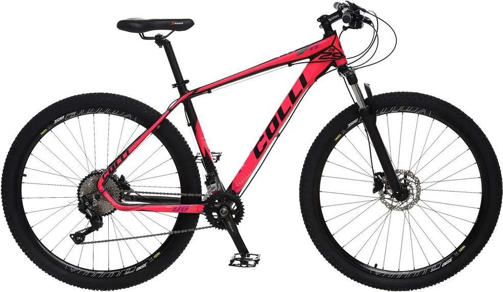 Bicicleta Esportiva Aro 29 Deore Shimano Suspensão Freio a Disco F11 Quadro 18 Alumínio Preto/Pink - Colli Bike