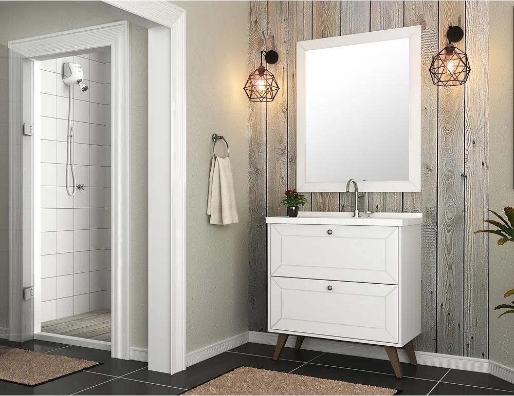 Gabinete para Banheiro Cuba e Armário com Espelho Provenca 80 Branco
