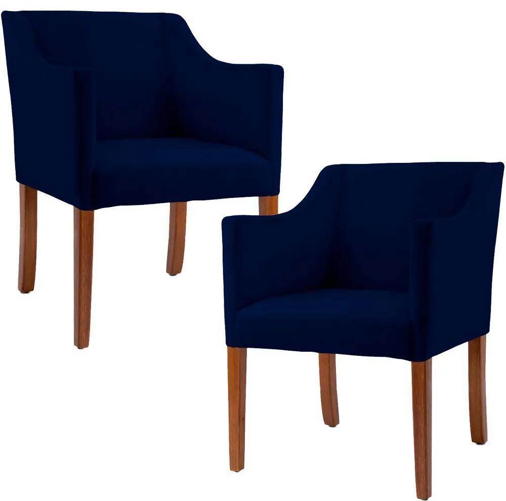 Kit 02 Poltronas Decorativas Sala de Estar Beta Veludo Azul Marinho - Gran Belo