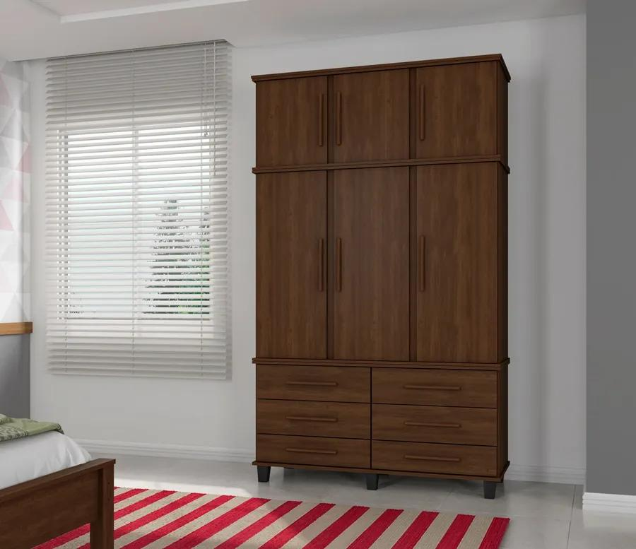 Guarda Roupa Triplex Prisma 3 Portas Noce - Fabri Móveis
