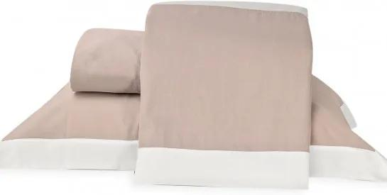 Roupa de Cama Casal Padrão Dual 250 Fios 04 Peças - Rosê / Branco
